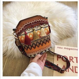 Boho clutch crossbody bucket bag purse new